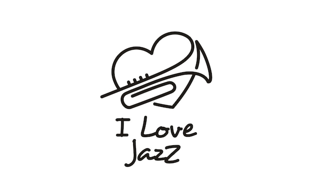 I love music jazz logo design inspiration Premium Vector
