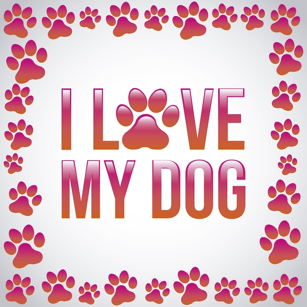 I love my dog over gray background vector illustration Premium Vector