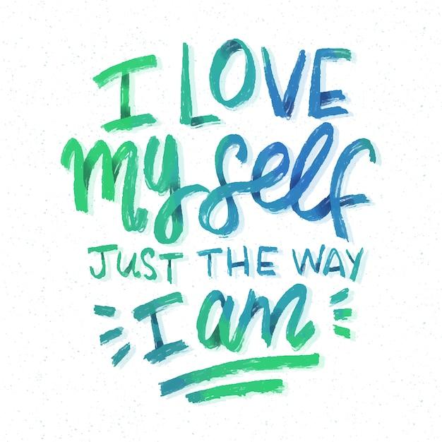 I love myself self-love lettering Free Vector