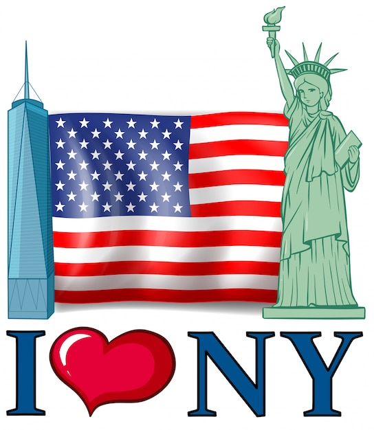 i love new york banner with american flag and buildings vector