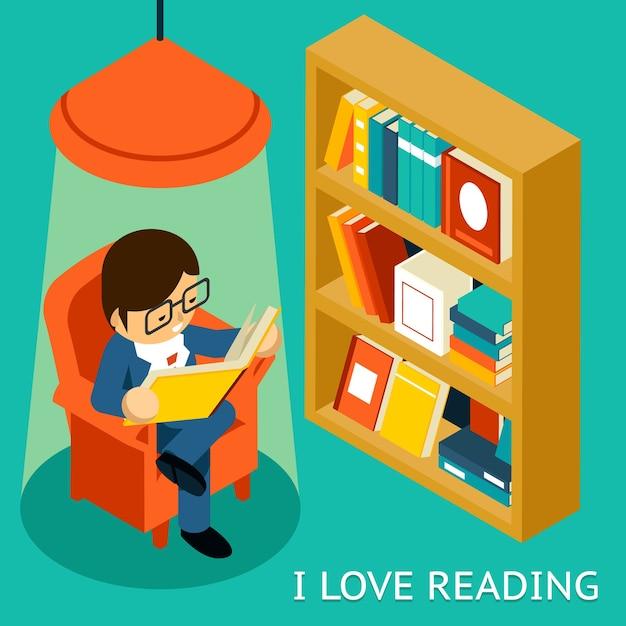 Amo leggere, illustrazione isometrica 3d. uomo seduto in poltrona leggendo il libro vicino a scaffale Vettore gratuito