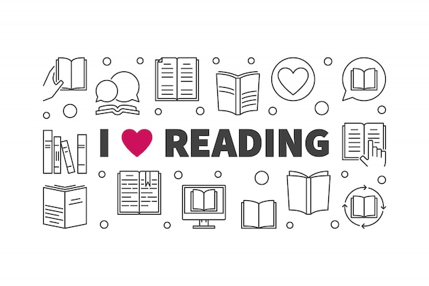 I love reading concept horizontal banner in thin line style. vector illustration Premium Vector