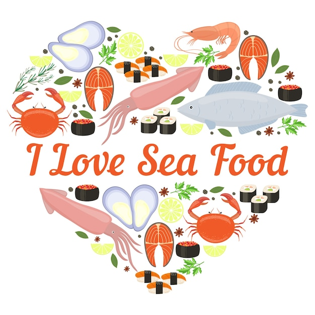 I love seafood vector heart design for a poster or card with calamari  fish  lobster  crab  sushi  shrimp  prawn  mussel  salmon steak  herbs and spices and central copyspace Free Vector