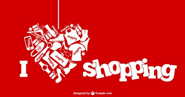 i love shopping banner vector free download