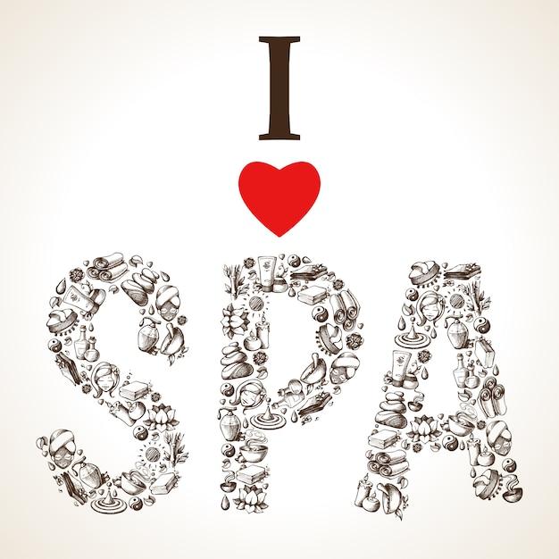 I love spa sketch lettering Free Vector