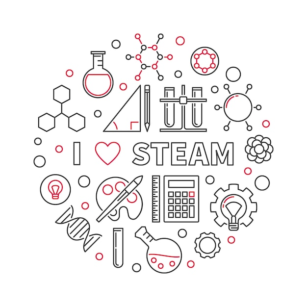 I love steam Premium Vector