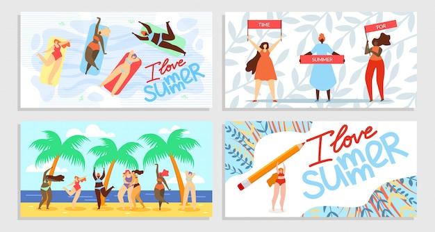 Set di banner i love summer, time for summer Vettore gratuito