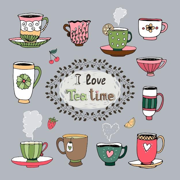Центральный картуш i love tea time в лиственной рамке, окруженный различными чашками чая Бесплатные векторы