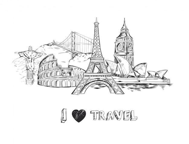 Amo l'illustrazione di viaggio Vettore gratuito