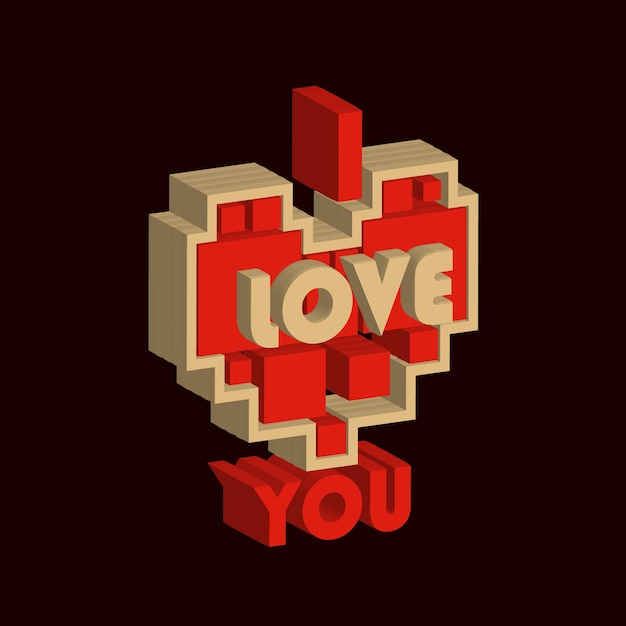 I Love You 3d Icon Premium Vector