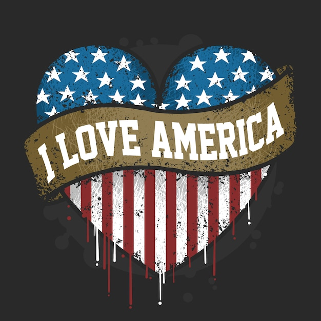 I love you america usa flag with grunge artwork vector Premium Vector