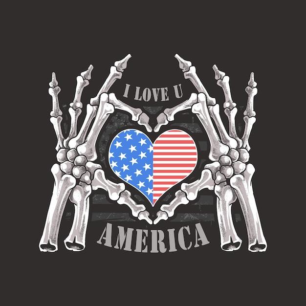 Я тебя люблю америку сша навсегда скелетон косты черепа и рука artwork Premium векторы