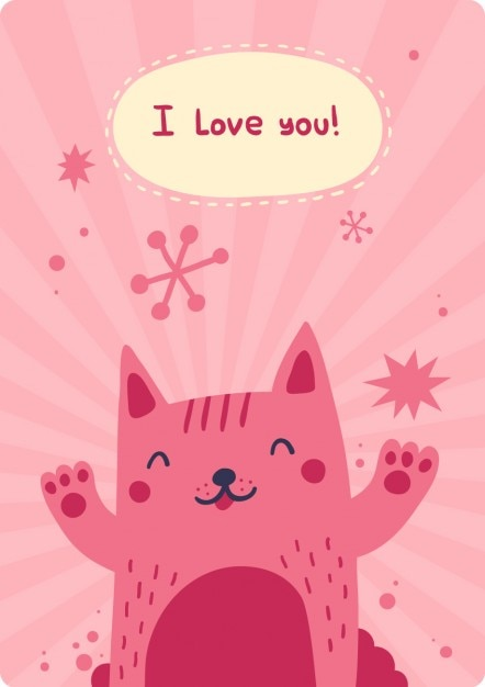 I love you card with happyness cat Free Vector