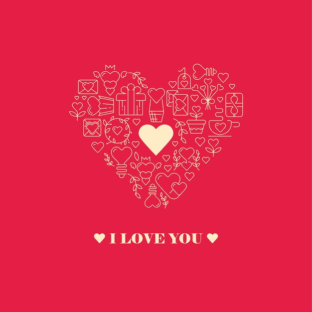 I love you card with heart shape of the big heart frame consisting of elements Free Vector