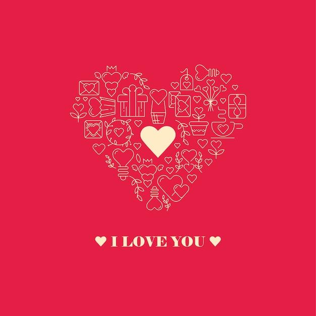 Я люблю тебя открытка с сердечком из большой сердечной рамки, состоящей из элементов Бесплатные векторы