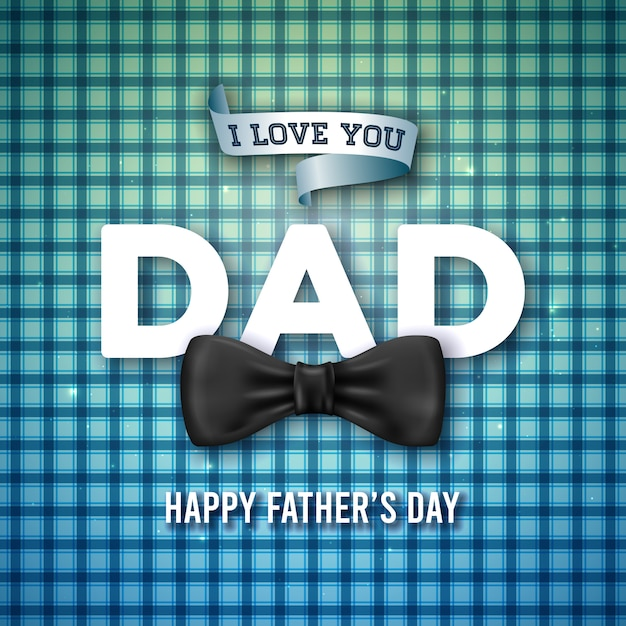 Я люблю тебя, папа. счастливый дизайн поздравительной открытки дня отца с бабочкой и 3d письмо на синем клетчатый фон. празднование иллюстрация для папы. Бесплатные векторы