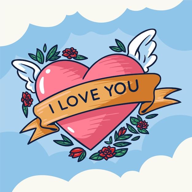 I love you heart illustration Free Vector