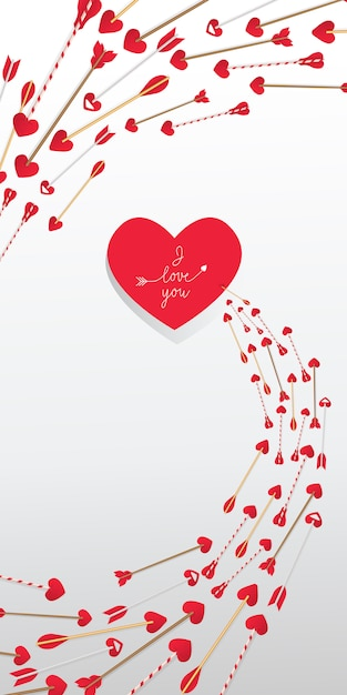 I love you lettering in red heart and arrows in swirl Free Vector