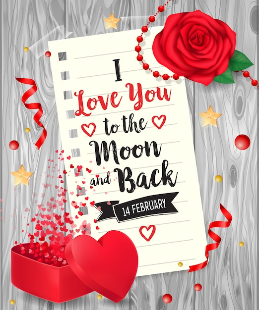 I love you lettering with rose Premium Vector