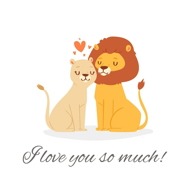 I love you lion lettering  illustration.   cute happy lion couple sitting together with pink loving hearts on romantic date. valentine day celebration card  on white Premium Vector