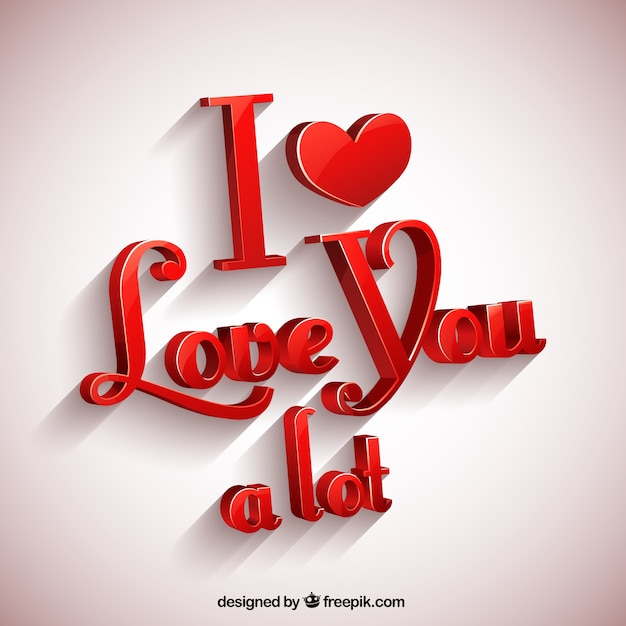 I Love You A Lot Greeting Card Vector Free Download