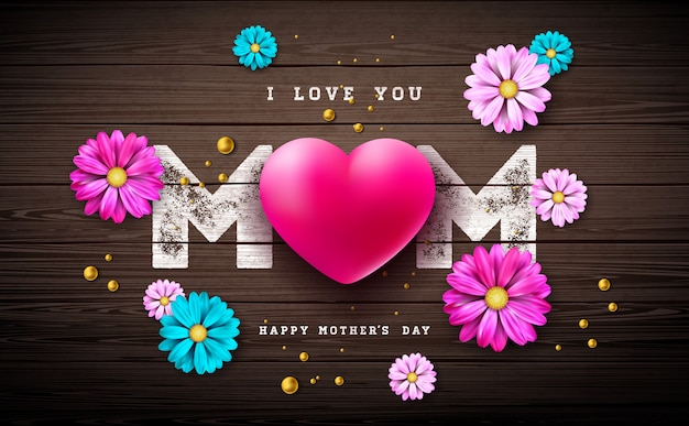 I love you mom. happy mother's day greeting card design with heart and pearl on vintage wood background. Free Vector