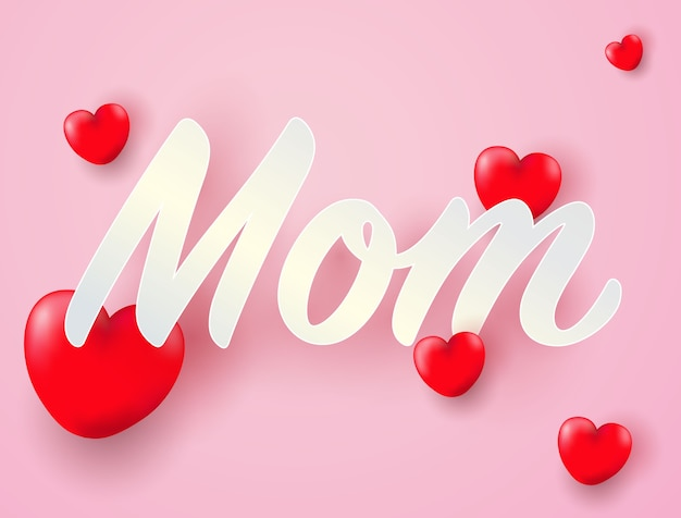 I Love You Mom With Heart Vector Premium Download