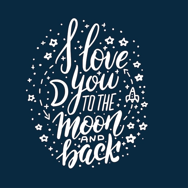 I love you to the moon and back lettering circle concept on dark blue background. Premium Vector
