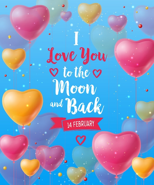 I love you to the moon and back lettering Premium Vector