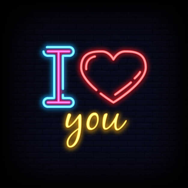 I love you neon sign text. Premium Vector