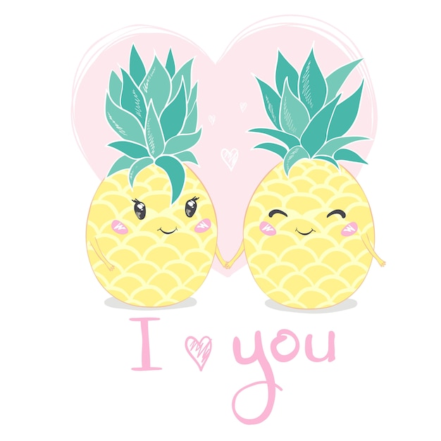 I love you. pineapple, cute character for your design Premium Vector