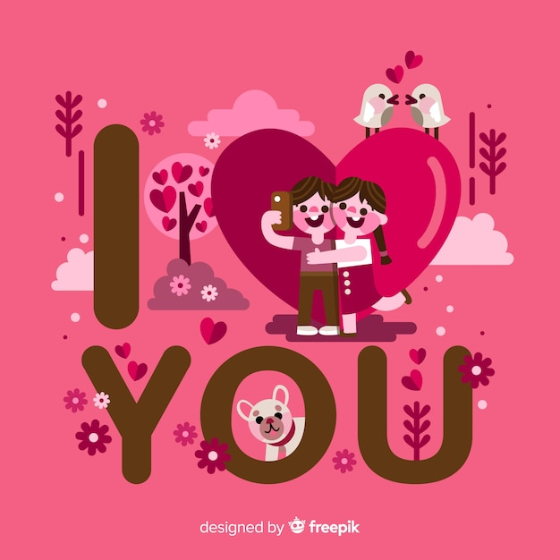 I love you, romantic lettering Free Vector