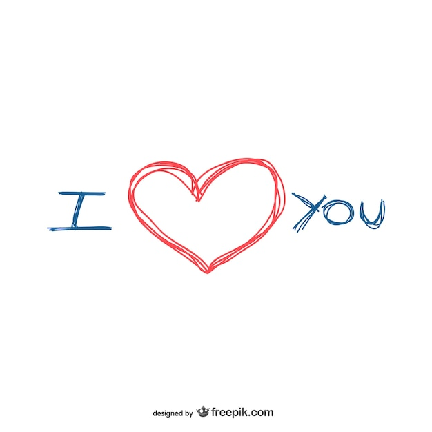 Download I love you scribble | Free Vector