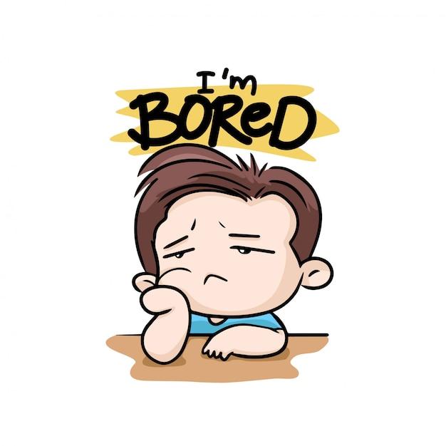 I'm bored with boy illustration cartoon mascot vector Premium Vector