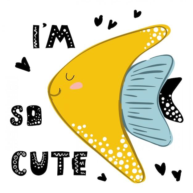 I'm so cute, quote with cute golden fish Premium Vector