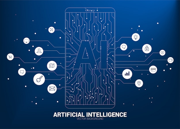 A.i. in mobile phone with circuit line graphic. concept of mobile telecommunication with machine learning. artificial intelligence Premium Vector