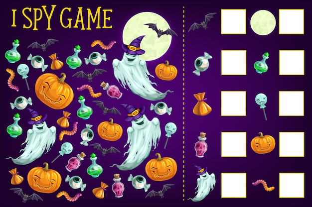 Premium Vector I Spy Game Template Of Find And Count Halloween Objects