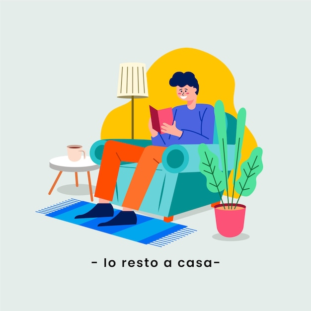 I stay at home quarantine and read in living room Free Vector