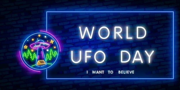 I want to believe. world ufo day. space collection neon signs vector Premium Vector