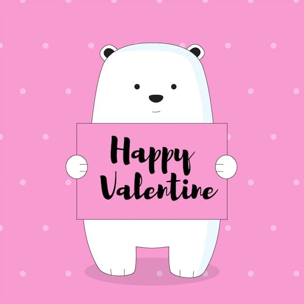 Ice bear with valentine card Premium Vector