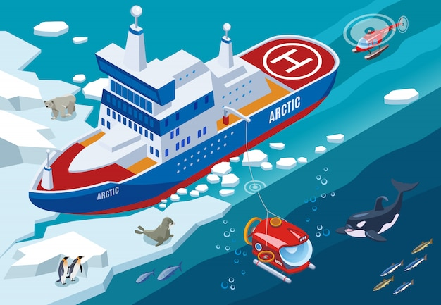 Ice breaker with submarine and helicopter during arctic research northern sea animals isometric illustration Free Vector