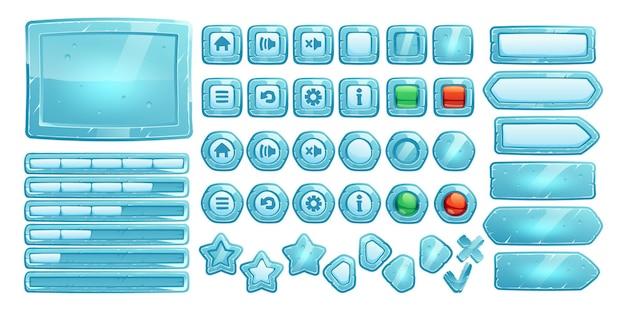 Ледяные кнопки для пользовательского интерфейса игры Бесплатные векторы
