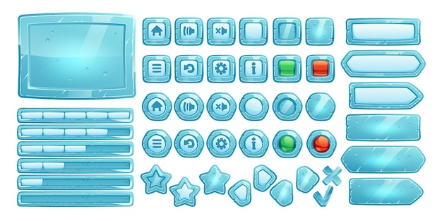 Ice buttons for ui game Free Vector