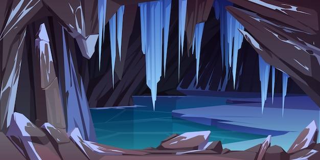 山の氷の洞窟、凍った湖の洞窟 無料ベクター