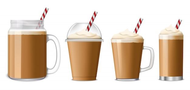 アイスコーヒーのアイコンを設定 Premiumベクター