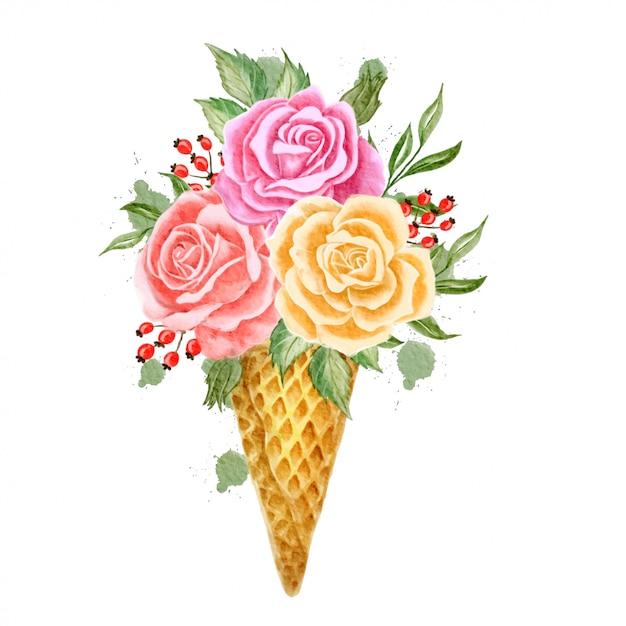 Ice cone flowers watercolor Premium Vector