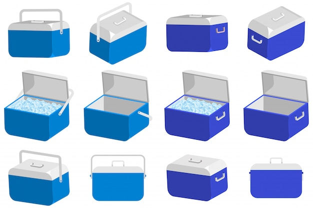 Ice cooler box vector set isolated on a white background. Premium Vector