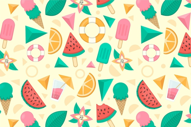アイスクリームとフルーツのズームの背景 無料ベクター