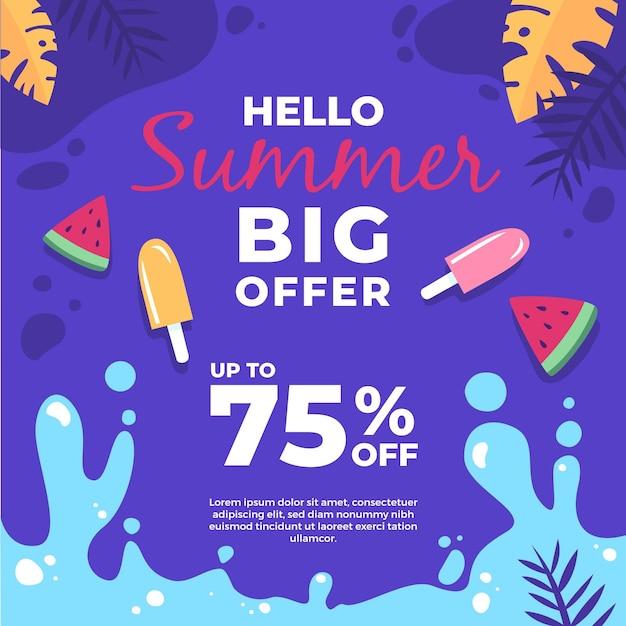 Мороженое и кусочки арбуза летняя распродажа Бесплатные векторы