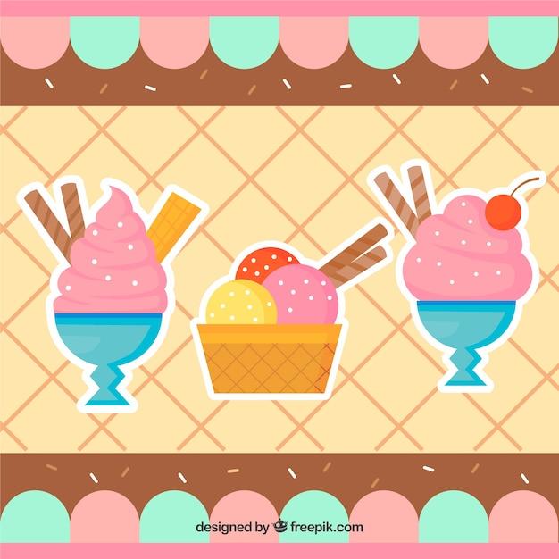 Ice cream background and desserts in flat\ design